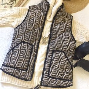 J. Crew Excursion Puffer Vest Herringbone